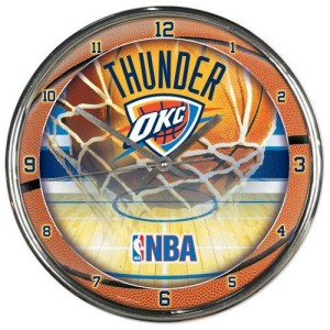 Oklahoma City Thunder Round Chrome Wall Clock