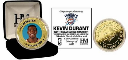 Oklahoma City Thunder Kevin Durant 24KT Gold and Color Coin
