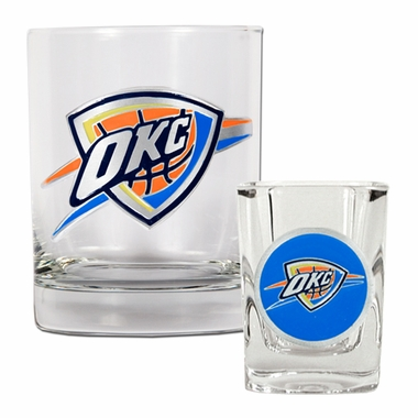 Oklahoma City Thunder Rocks and Shot Glass Set