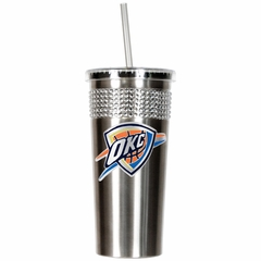 Oklahoma City Thunder Stainless Steel Bling Tumbler with Straw