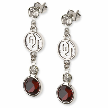 Oklahoma Crystal Logo Dangle Earrings