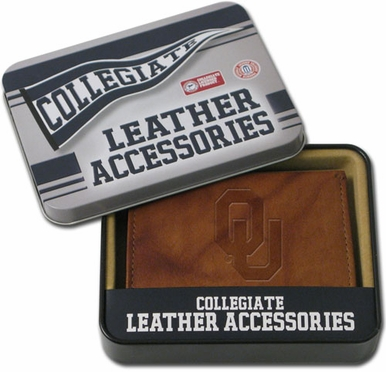 Oklahoma Embossed Leather Trifold Wallet