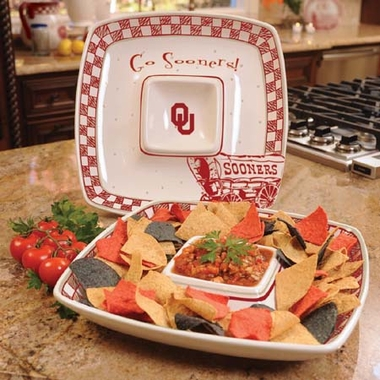 Oklahoma Gameday Ceramic Chip and Dip Platter