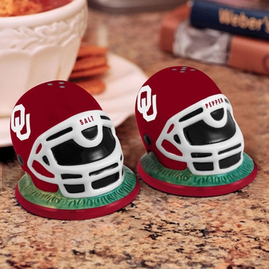Oklahoma Helmet Ceramic Salt and Pepper Shakers