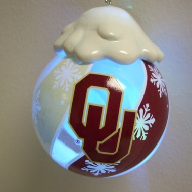 Oklahoma Light Up Glass Ball Ornament