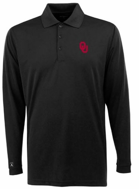 Oklahoma Mens Long Sleeve Polo Shirt (Team Color: Black)