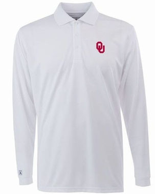 Oklahoma Mens Long Sleeve Polo Shirt (Color: White)