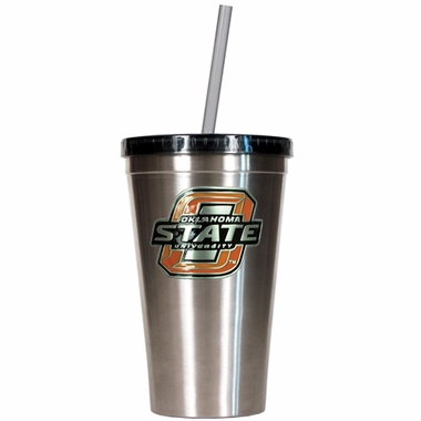 Oklahoma State 16oz Stainless Steel Insulated Tumbler with Straw