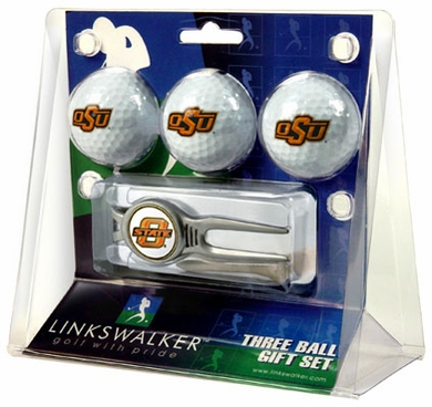 Oklahoma State 3 Ball Gift Pack With Kool Tool