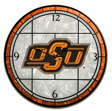 Oklahoma State Art Glass Clock