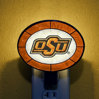 Oklahoma State Art Glass Night Light