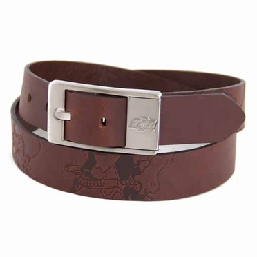 Oklahoma State Brown Leather Brandished Belt