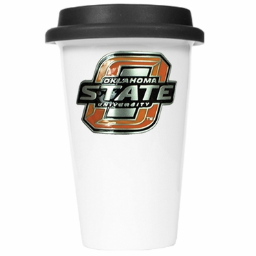 Oklahoma State Ceramic Travel Cup (Black Lid)
