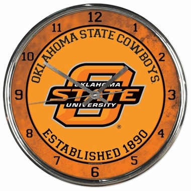 Oklahoma State Cowboys Round Chrome Wall Clock