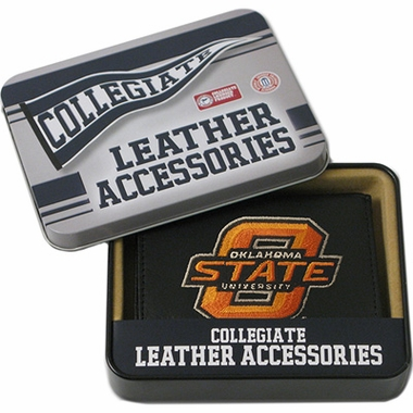Oklahoma State Embroidered Leather Tri-Fold Wallet