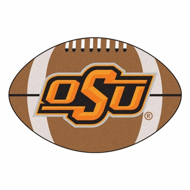 Oklahoma State Football Shaped Rug