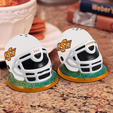 Oklahoma State Helmet Ceramic Salt and Pepper Shakers