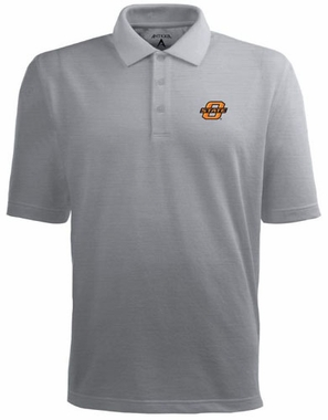 Oklahoma State Mens Pique Xtra Lite Polo Shirt (Color: Gray)
