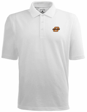 Oklahoma State Mens Pique Xtra Lite Polo Shirt (Color: White)