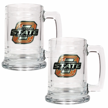 Oklahoma State Set of 2 15 oz. Tankards