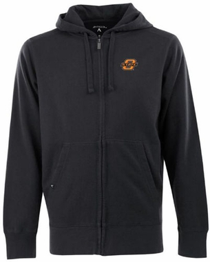 Oklahoma State Mens Signature Full Zip Hooded Sweatshirt (Color: Black)