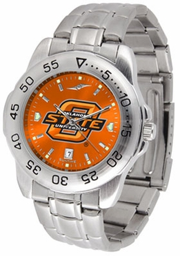 Oklahoma State Sport Anonized Men's Steel Band Watch