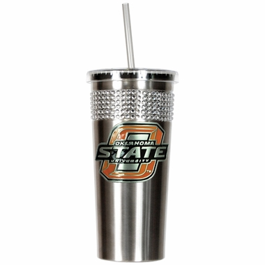 Oklahoma State Stainless Steel Bling Tumbler with Straw