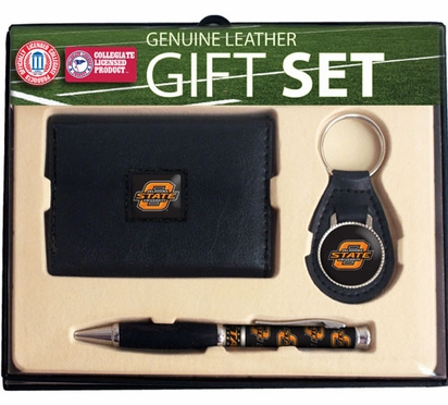 Oklahoma State Trifold Wallet Key Fob and Pen Gift Set