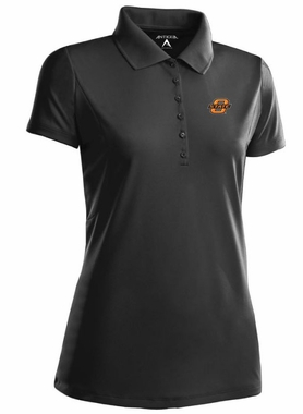 Oklahoma State Womens Pique Xtra Lite Polo Shirt (Color: Black)