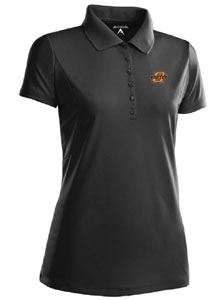 Oklahoma State Womens Pique Xtra Lite Polo Shirt (Color: Black) - Small