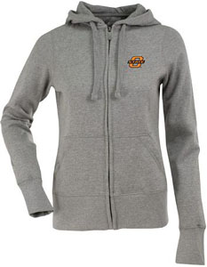 Oklahoma State Womens Zip Front Hoody Sweatshirt (Color: Gray) - Medium