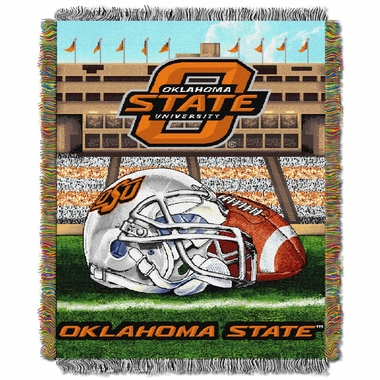 Oklahoma State Woven Tapestry Blanket