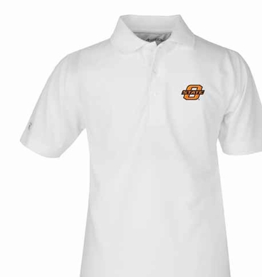 Oklahoma State YOUTH Unisex Pique Polo Shirt (Color: White)