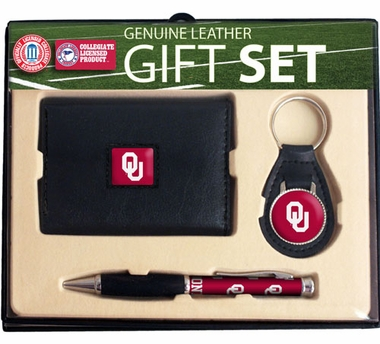 Oklahoma Trifold Wallet Key Fob and Pen Gift Set