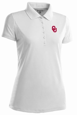 Oklahoma Womens Pique Xtra Lite Polo Shirt (Color: White)