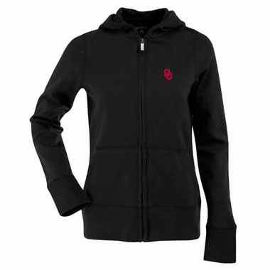 Oklahoma Womens Zip Front Hoody Sweatshirt (Color: Black)