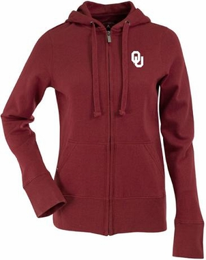 Oklahoma Womens Zip Front Hoody Sweatshirt (Color: Maroon)