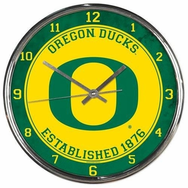 Oregon Ducks Round Chrome Wall Clock