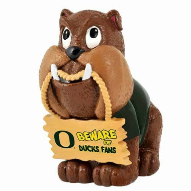 Oregon Ducks Bulldog Holding Sign Figurine