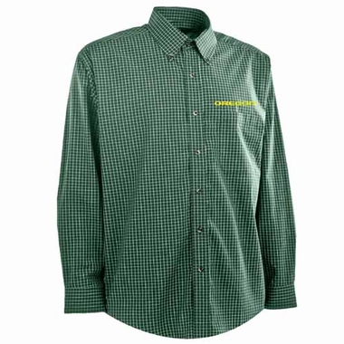 Oregon Mens Esteem Check Pattern Button Down Dress Shirt (Team Color: Green)