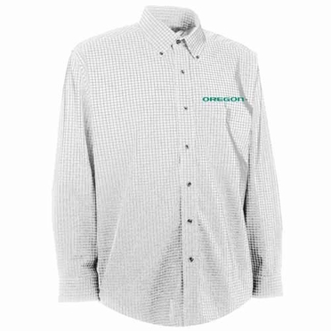 Oregon Mens Esteem Check Pattern Button Down Dress Shirt (Color: White)