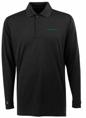 Oregon Mens Long Sleeve Polo Shirt (Color: Black)