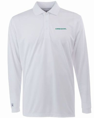 Oregon Mens Long Sleeve Polo Shirt (Color: White)