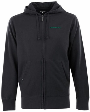 Oregon Mens Signature Full Zip Hooded Sweatshirt (Color: Black)