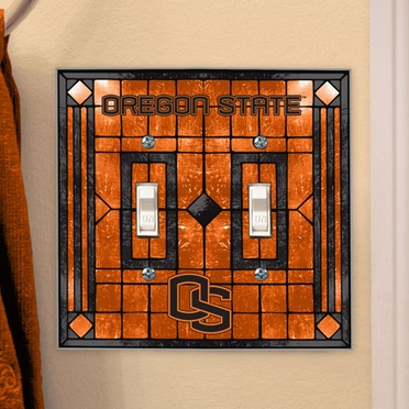Oregon State Art Glass Lightswitch Cover (Double)