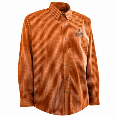 Oregon State Mens Esteem Check Pattern Button Down Dress Shirt (Team Color: Orange)