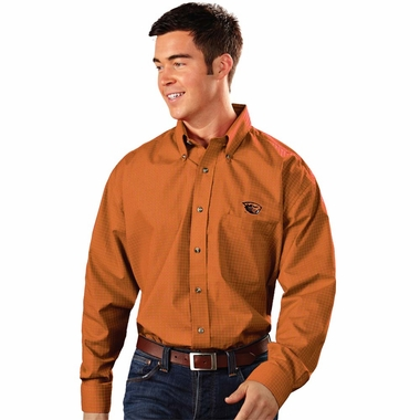 Oregon State Mens Esteem Check Pattern Button Down Dress Shirt (Team Color: Orange) - Large