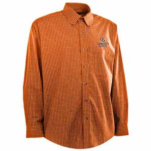 Oregon State Mens Esteem Check Pattern Button Down Dress Shirt (Team Color: Orange) - Small