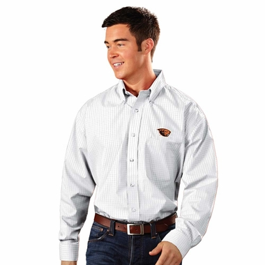 Oregon State Mens Esteem Check Pattern Button Down Dress Shirt (Color: White)
