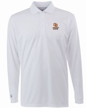 Oregon State Mens Long Sleeve Polo Shirt (Color: White)